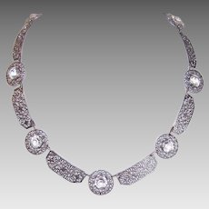 ART DECO Filigree Necklace - Rhodium Metal, Clear, Glass Paste