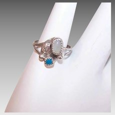 Vintage STERLING SILVER Ring - Turquoise, Mother of Pearl, Childs Ring