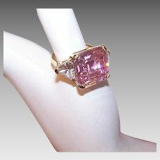 Vintage STERLING SILVER Ring - Yellow Gold Vermeil, 17CT TW, Glass Paste, Pink, Clear, Bling Ring