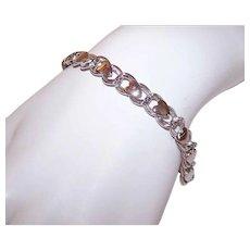 Beau Sterling Silver Heart Top Double Link Starter Charm Bracelet