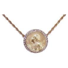 Art Nouveau 18K Gold Rose Cut Diamond Pendant