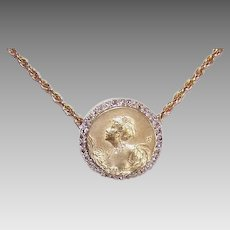 Art Nouveau 18K GOLD Pendant - French, Rose Cut Diamonds, Belle Epoch Lady, Designer Signed