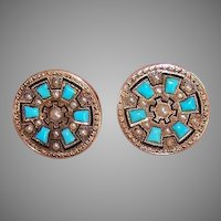 Antique Victorian 14K Gold Turquoise Natural Pearl Earrings