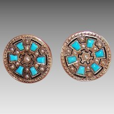 ANTIQUE VICTORIAN 14K Gold Earrings - Natural Pearl, Turquoise, Enamel, Pierced