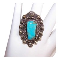 Native American Sterling Silver Turquoise Ring | Old Pawn Southwest Indian Silver Turquoise Ring | Statement Ring