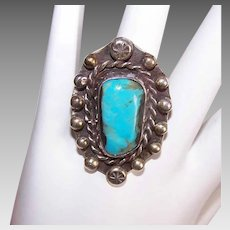 Vintage STERLING SILVER Ring - Turquoise, Large Cab, Bold Design