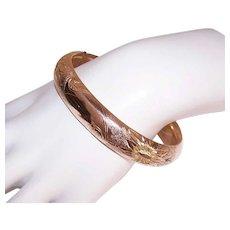Antique Victorian GOLD FILLED Bracelet - Hinged, Bangle, Engraved, Chased, Floral