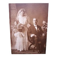 Edwardian B&W Cabinet Card Photograph - Wedding Couple