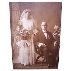 Edwardian B&W Cabinet Card Photograph - Wedding Couple
