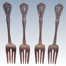 Alvin Sterling, Chateau Rose Pattern, STERLING SILVER, Set of 4 Salad Forks