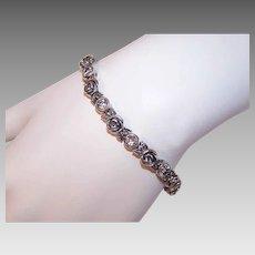 Vintage STERLING SILVER Bracelet - Aquamarine, Roses, Link, Orig Tag