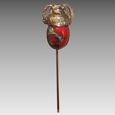 Vintage COSTUME Stick Pin - Egyptian Scarab with Red Glass Cab Body