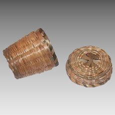 Vintage SWEET GRASS Thimble Holder - 2 Part Piece