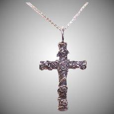 Vintage STERLING SILVER Pendant - Religious, Cross, Roses