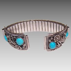 Vintage NATIVE AMERICAN Watch Band Ends - Sterling Silver, Turquoise, Navajo, Signed VB