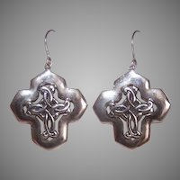 Sterling Celtic Cross Drop Earrings