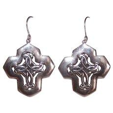Vintage STERLING SILVER Earrings - Celtic, Cross, Drops, Pierced, Lightweight