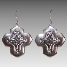 Vintage STERLING SILVER Earrings - Celtic, Cross, Drops, Pierced, Lightweight