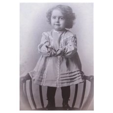 Edwardian B&W Cabinet Card Photograph - Small Child Standing on Chair