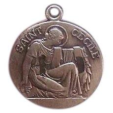 Vintage STERLING SILVER Charm - Religious, Saint Cecilia, Patron Saint Music