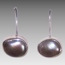 Vintage STERLING SILVER Earrings - Grey Cultured Pearls, Asymmetrical, Pierced