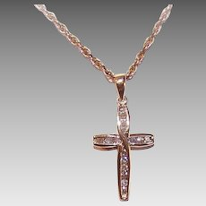 Vintage 10K GOLD Pendant - .22CT TW, Diamond, Religious, Cross, Small Size