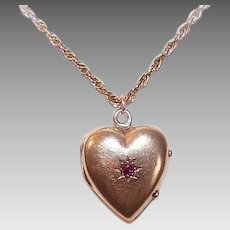 ANTIQUE EDWARDIAN 14K Gold Pendant - Heart, Locket, Charm, Ruby, Yellow Gold
