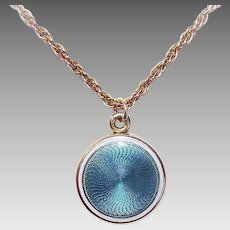 Sloan & Co EDWARDIAN 14K Gold Locket - Blue, White, Enamel, Guilloche, Round, Pendant