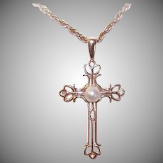 Vintage 10K GOLD Pendant - Cultured Pearl, Religious Cross