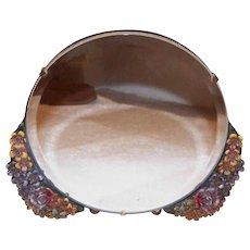 ART DECO Revival Barbola Mirror - Round, Gold, Lots of Florals
