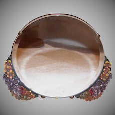 ART DECO Revival Barbola Mirror - Round, Gold, Lots of Florals