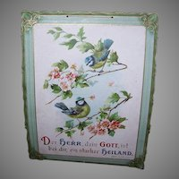 VICTORIAN Religious Hanging Print - Catherine Klein, Blue Birds, Cherry Blossoms