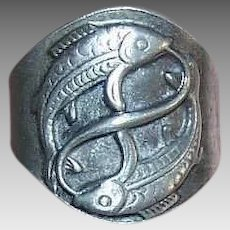 Vintage CRACKER JACK Prize - Silver Tone Metal, Ring, Pisces, Two Fish