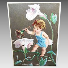 VICTORIAN Trade Card - Begonias, Fairy Sweep
