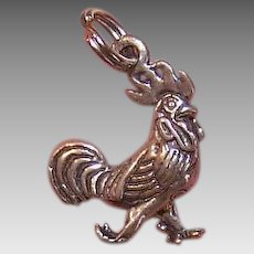 Vintage STERLING SILVER Charm - Rooster, Chanticleer, Coq