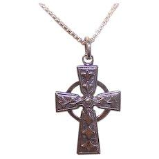 Vintage STERLING SILVER Pendant - Religious, Celtic, Cross