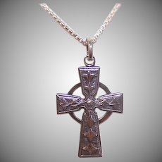 Vintage STERLING SILVER Pendant - Religious, Celtic, Cross