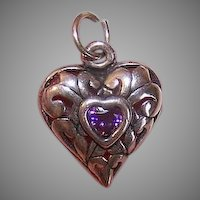 Vintage Sterling Silver Rhinestone Paste Heart Charm