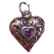 Vintage STERLING SILVER Charm - Heart, Amethyst Paste, Filigree, Pendant
