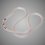 """Vintage SILVERPLATE Chain Necklace - Tubular Mesh, 16"""", 3.5mm Thick"""