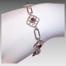 Vintage STERLING SILVER Bracelet - Garnet, Celtic Design, Toggle Clasp