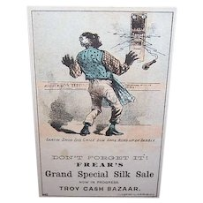VICTORIAN Trade Card - Politically Incorrect, Black Man, Special Silk Sale