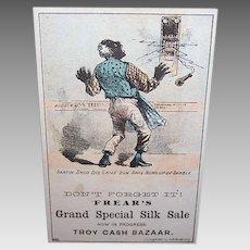 VICTORIAN Trade Card - Politically Incorrect, Black Man, Special Silk Sale