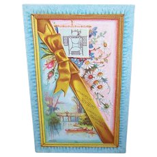 VICTORIAN Trade Card - New Home Sewing Machine, Man Fishing, Daisies