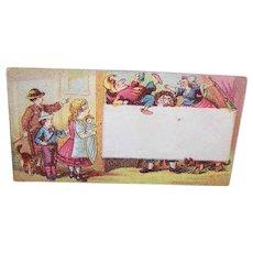 VICTORIAN Trade Card - Children Watching a Punch & Judy Puppet Show