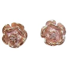 14K Gold Diamond Rose Blossom Earrings
