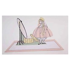 6 Unused ART DECO Place Cards - Little Girl Dressing Up in Front of a Mirror