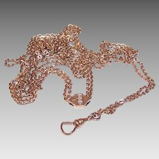 Edwardian GOLD FILLED Watch Chain - Lorgnette, Muff, Long, With Slide