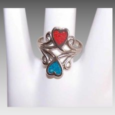 Vintage STERLING SILVER Ring - Native American, Turquoise, Red Coral, Hearts