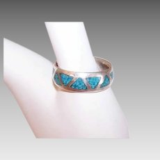 Vintage STERLING SILVER Ring - Native American, Crushed Turquoise, Band